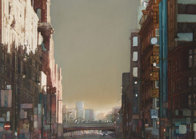 After the storm Oxford Street Manchester original watercolour image size approx 53cm x 50cm SOLD