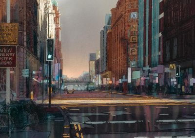 After the storm, Oxford street, Manchester.  original watercolour image size approx 69cm x 68cm