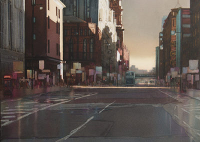 Autumn shadows Oxford Street Manchester original watercolour image size approx 53cm x 50cm SOLD