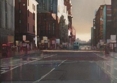 Autumn shadows Oxford Street Manchester original watercolour image size approx 53cm x 50cm SOLD
