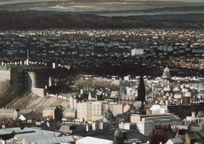 City Light Edinburgh original watercolour image size approx 69cm x 68cm for sale