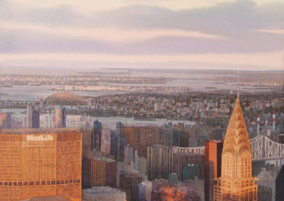 Distant horizon Manhattan original watercolour image size approx 74cm x 53cm SOLD
