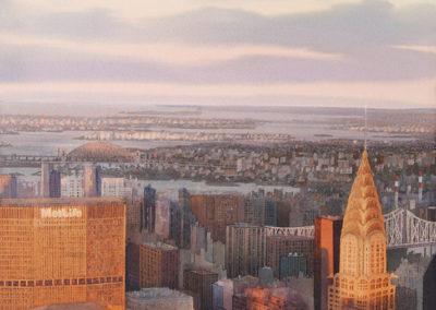 Distant horizon Manhattan original watercolour image size approx 74cm x 53cm SOLD