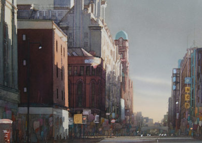 Evening light Oxford Street Manchester original watercolour image size approx 74cm x 53cm SOLD
