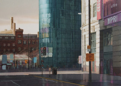 Evening light Printworks Manchester original watercolour image size approx 52cm x 38cm