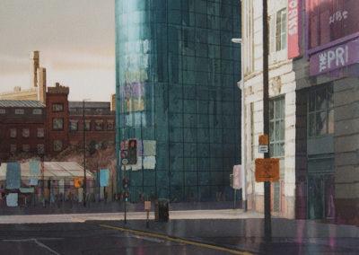 Evening light Printworks Manchester original watercolour image size approx 52cm x 38cm