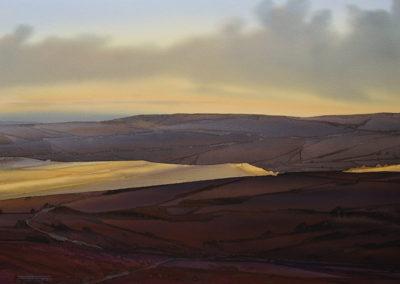 Evening shadows Buxton Peak District original Watercolour lndscp size approx 52cm x 39cm SOLD