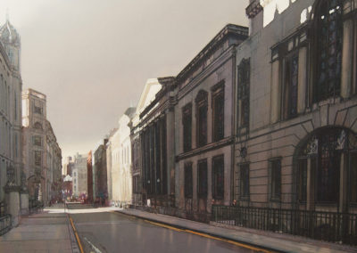 Morning shadows Chancery Lane, The Law Societys Hall original watercolour image size approx 69cm x 68cm commission SOLD