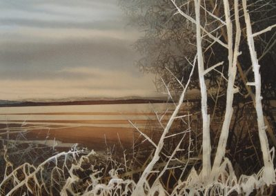 Morning sun Silverdale Beach original watercolour image size approx 53cm x 50cm SOLD