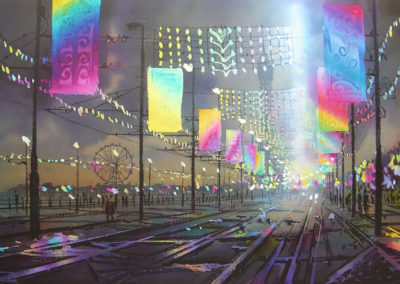 Northern Lights Blackpool original watercolour image size approx 74cm x 53cm winner of the Sunday Times Smith & Williamson Cityscape prize 2009 SOLD