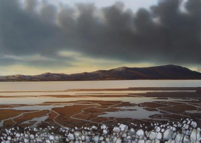 Storm Clouds over Criffel Hill Solway original watercolour image size approx 74cm x 53cm SOLD