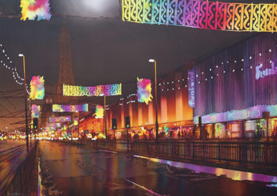 The Golden Mile, Blackpool, original watercolour. image size approx 74cm x 53cm SOLD