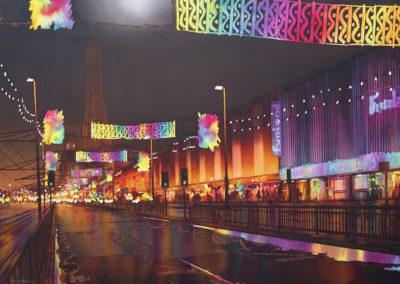 The Golden Mile, Blackpool, original watercolour. image size approx 74cm x 53cm SOLD