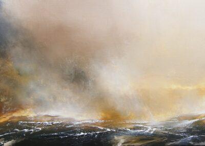 The Last Deluge. original oil. framed size 52cm x 132cm SOLD.