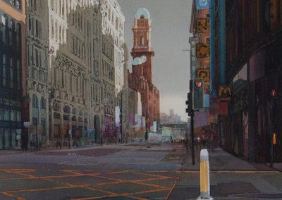 Urban light Oxford Street Manchester original Watercolour image size approx 52cm x 38cm