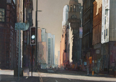 Urban light Peter Street Manchester original Watercolour image size approx 52cm x 38cm SOLD