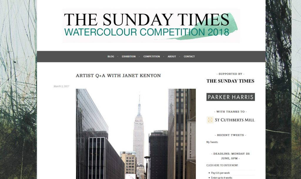 Interview with sunday times for water colour competition